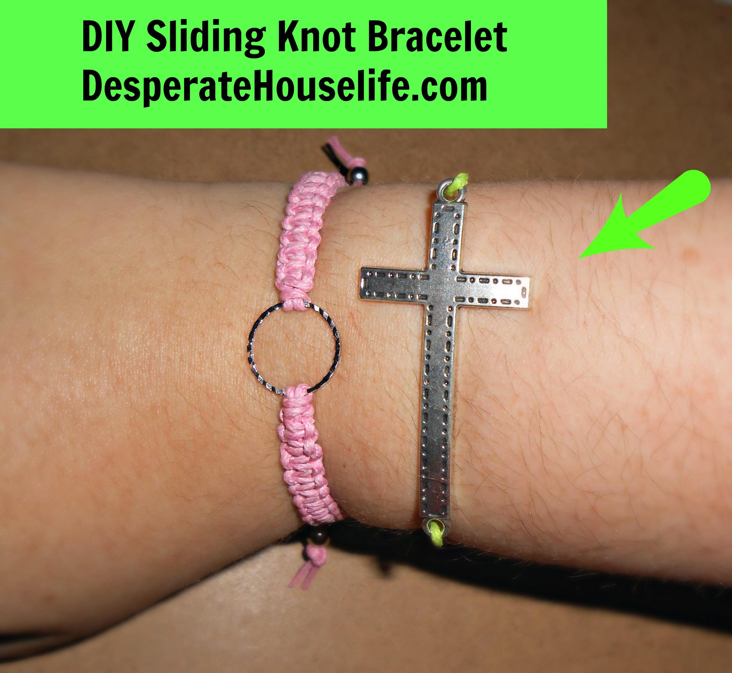 Sliding knot bracelet diy cross sliding knot bracelet diy baditri Image collections
