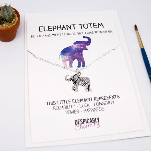 Elephant totem Friendship Necklace - Lucky elephant - elephant necklace - Bridesmaid gift for that special friend