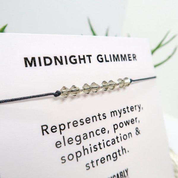 Black Crystal & Sterling Silver Bracelet