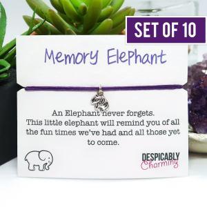 Set of 10 Memory Elephant Bracelets