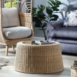 Natural Woven Rattan Round Coffee Table Desser Co