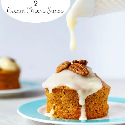 Warm Carrot Cakes with Cream Cheese Sauce recipe