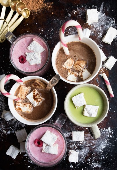 assortment of different hot cocoa