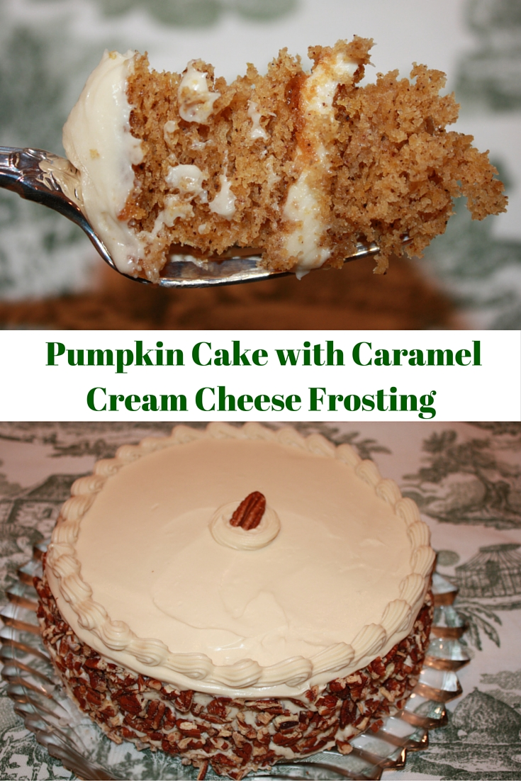 Pumpkin Cake with Caramel Cream Cheese Frosting is just what you need for a showstopper Thanksgiving dessert.