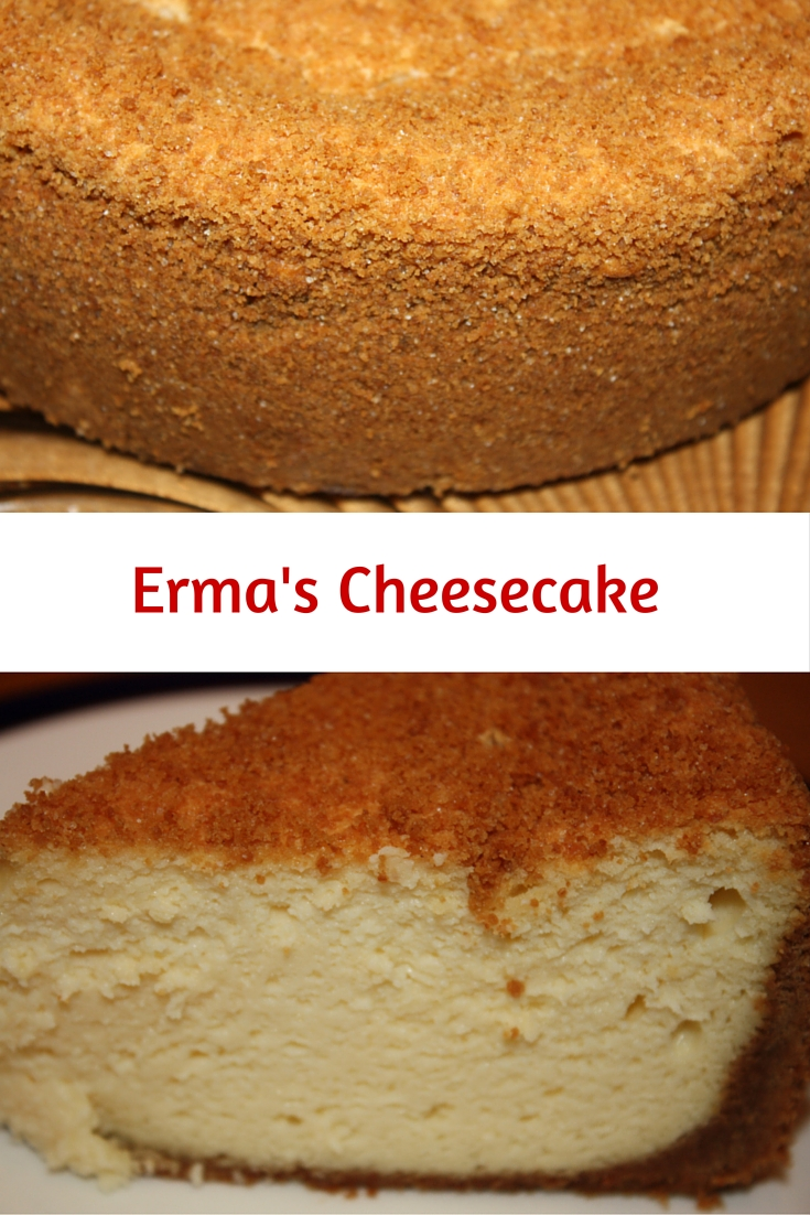 Even with lots of sour cream and cream cheese, Erma's Cheesecake is one of the lightest cheesecakes you will ever try! A graham cracker crust surrounds it.
