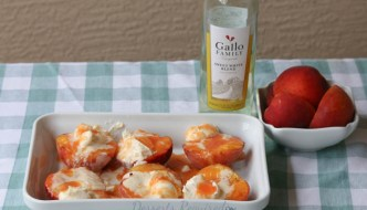 Grilled Peaches with White Wine Peach Mascarpone #SundaySupper