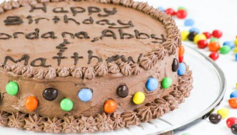 Chocolate Cake with Chocolate Buttercream is light and fluffy and works beautifully with the creamy frosting. The coated candies are great for decorating.