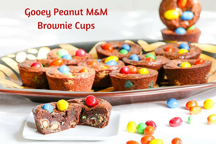 Gooey Peanut M&M Brownie Cups are ridiculously easy to make and the taste is outrageous. The recipe is made in one bowl so clean up is a breeze. Yummy!