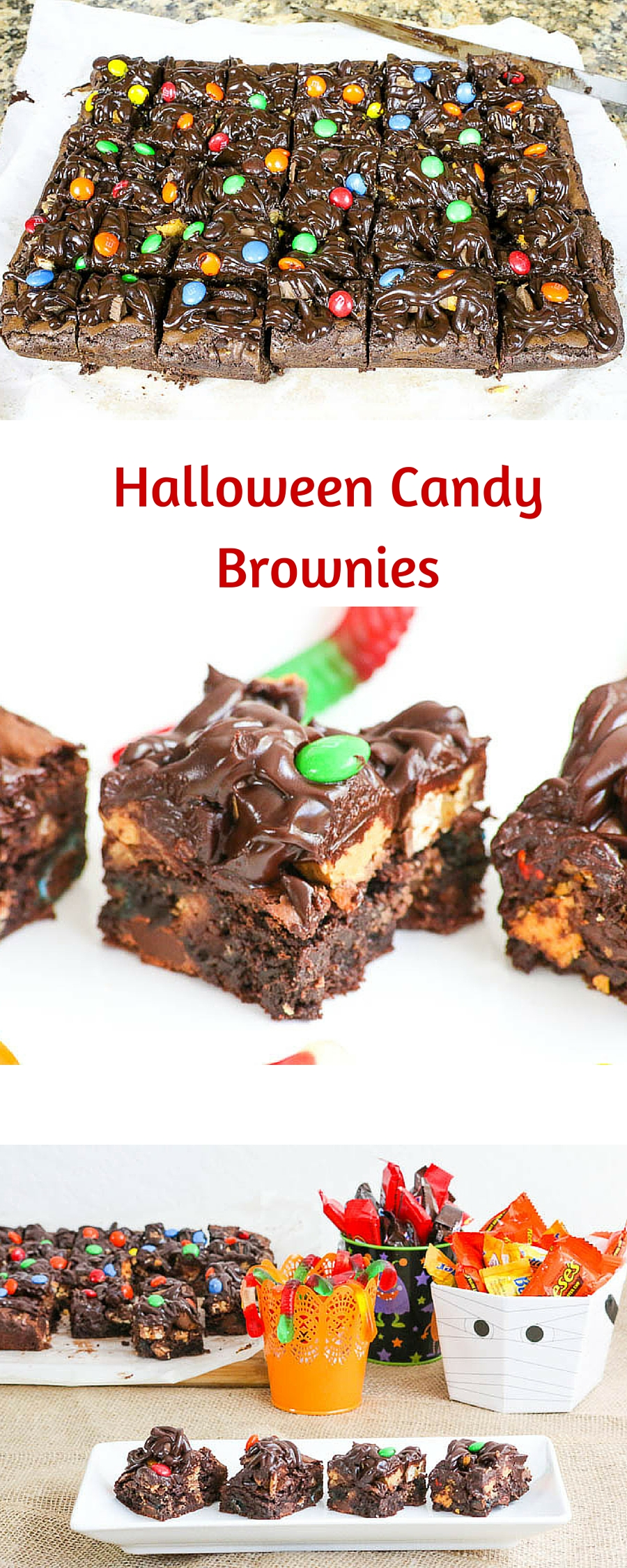 Halloween Candy Brownies uses your leftover candy in the sweetest possible way. You choose the combination and the recipe does the rest. A yummy dessert. #SundaySupper @DixieCrystals