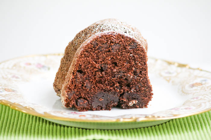 Chocolate Brownie Bundt Cake is a moist and delicious recipe with a secret ingredient - Greek yogurt! Sure to be a family favorite!
