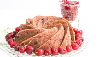 Chocolate Cherry Bundt Cake with Cherry Sauce