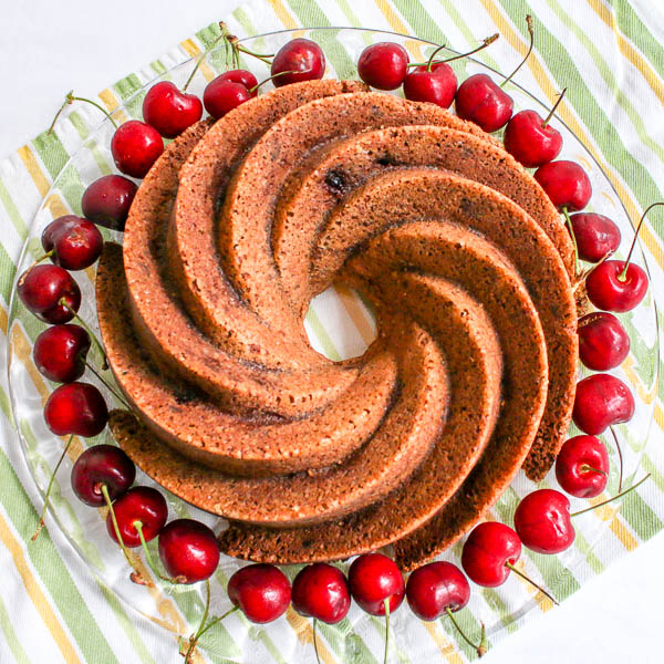 Chocolate Cherry Bundt Cake with Cherry Sauce is a dessert that takes full advantage of the gorgeous cherries available right now. A must make recipe!