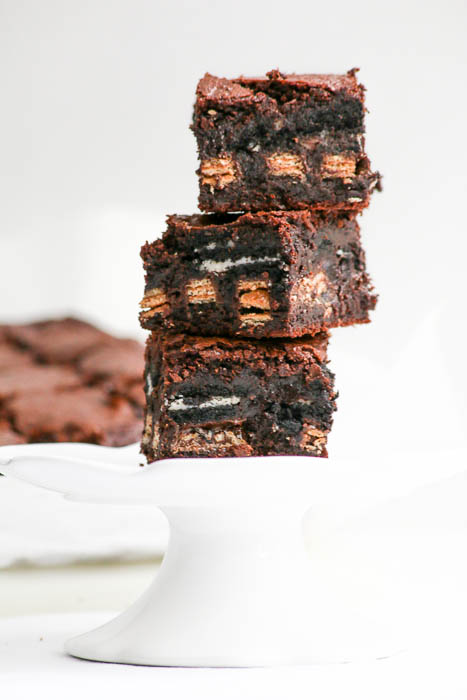 Triple Threat Brownies are just what they sound like...brownie batter with Oreo cookies and deep dark Kit Kat bars...no tricks involved!