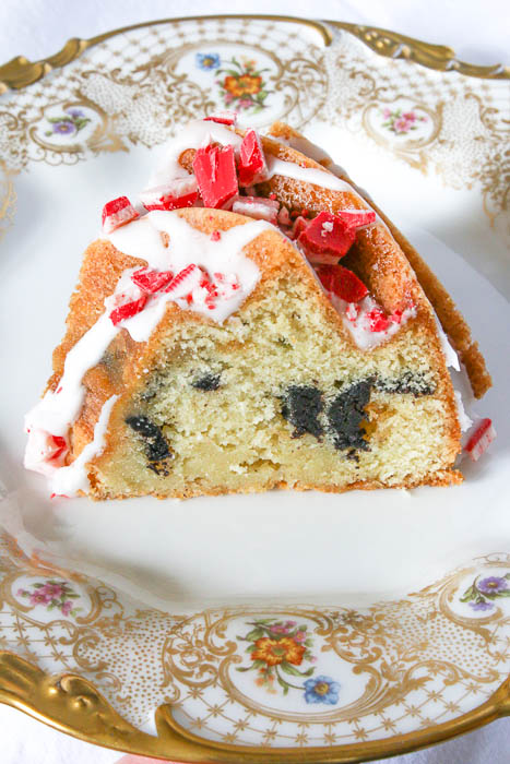 Candy Cane Cookie Bundt Cake takes advantage of peppermint sandwich cookies and candy crunch. Ring in the holidays with this dessert!