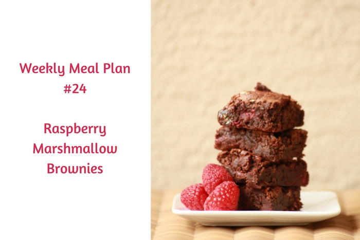 Weekly Meal Plan #24 gives you several meal options that are sure to please your family. Raspberry Marshmallow Brownies are a fab dessert choice.