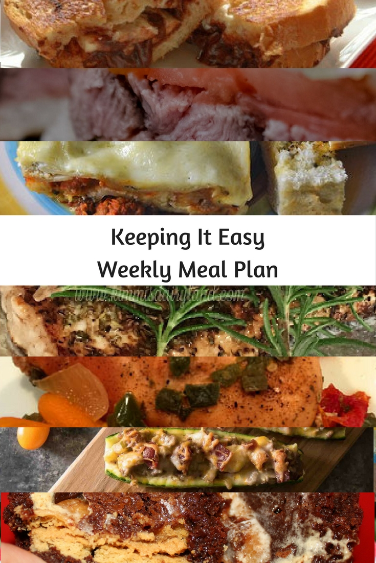 Easy Weekly Meal Plan #33 from My Fearless Kitchen. This week's meal plan includesGrilled Nutella Banana Marscapone Cheese, Rosemary Baked Halibut, Freeze & Bake Lasagna, Crockpot Chicken with Green Chilis, Salsa Steak Sandwich, Bacon Cheeseburger Zucchini Boats, and Gooey Marshmallow Monstrosity Cups.