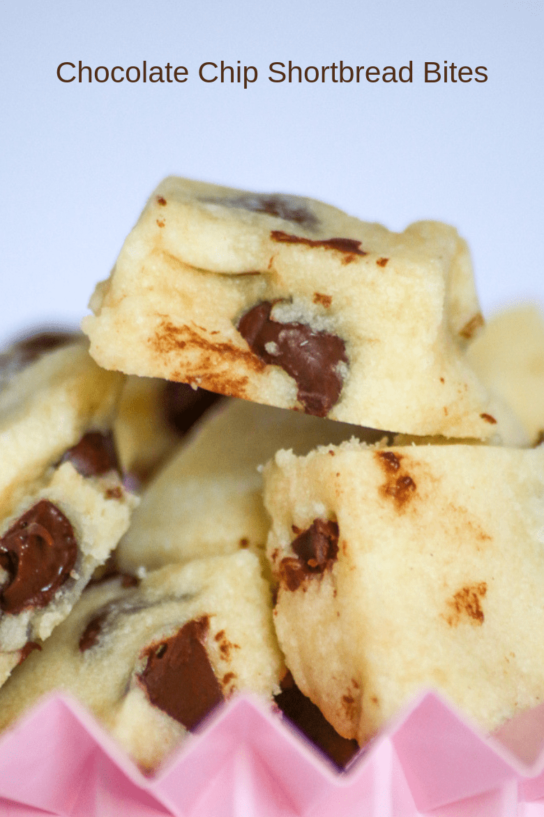 Chocolate Chip Shortbread Bites are just what you need when you want a quick and easy recipe. Perfect for entertaining or just popping!