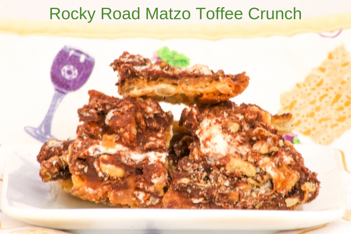 Rocky Road Matzo Toffee Crunch is a delicious way to use up all that leftover matzo. Perfect for any day of Passover or throughout the year.