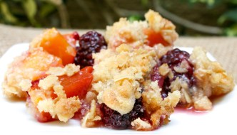 Peach Blackberry Crisp is a wonderful way to end a bbq. Quick and easy to put together with flavors that make everyone happy.