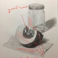 添削199:カボチャ・瓶・ティッシュのデッサン