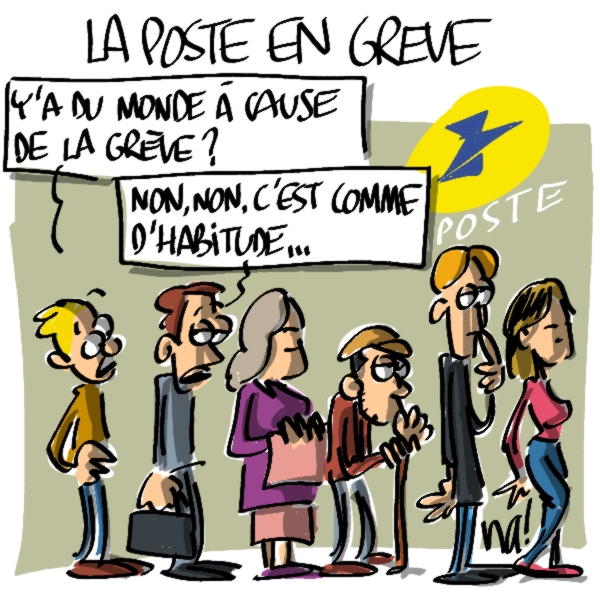 caricature-file-attente-poste