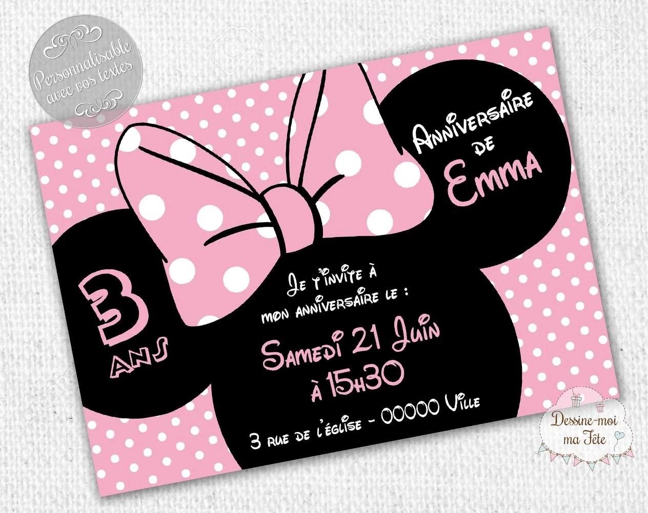 minnie rose carte d invitation anniversaire