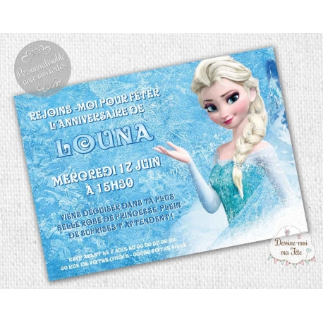 reine des neiges carte d invitation anniversaire