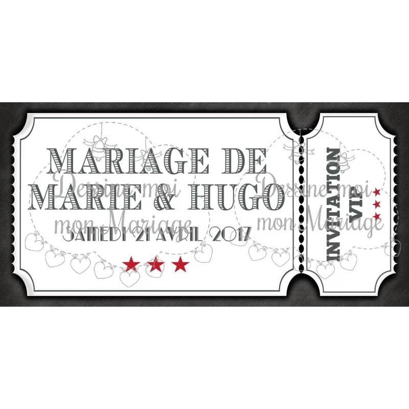faire part de mariage ticket de cinema