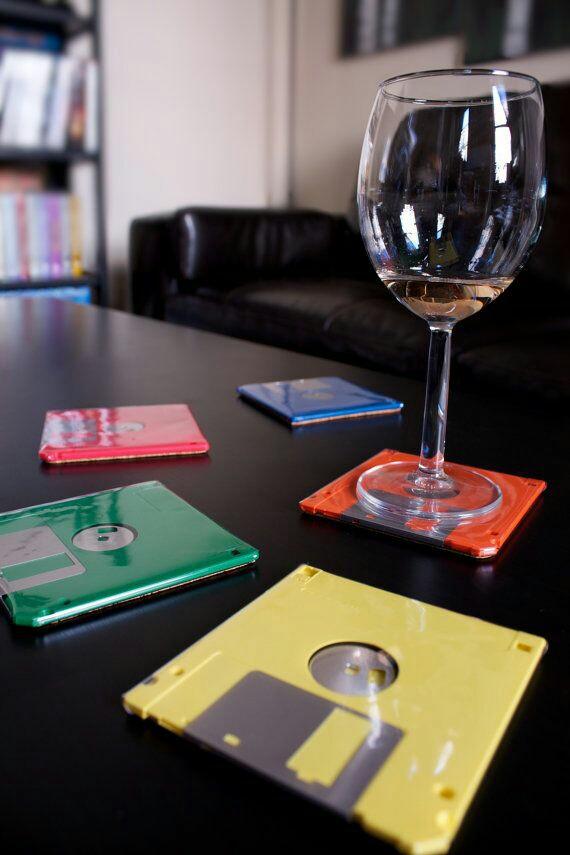 disquettes détournées en sous verre