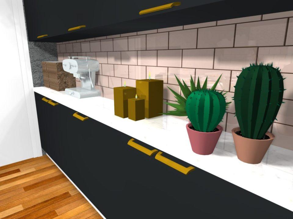 Cuisine rose poudré et cuivre cactus