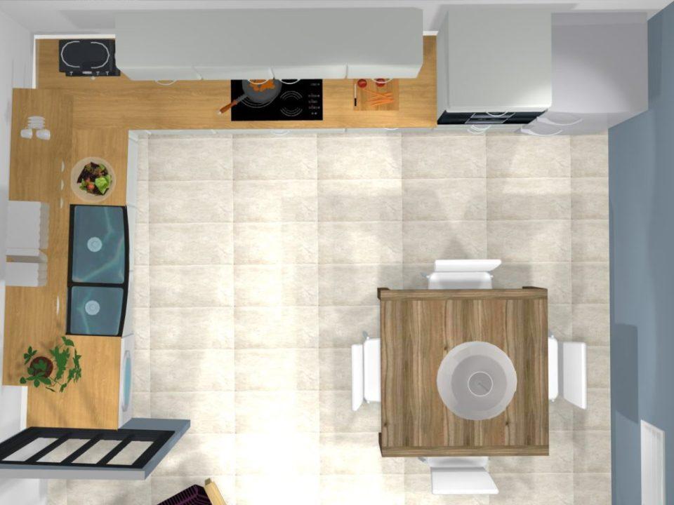 vue dessus cuisine blanche satinée et bois