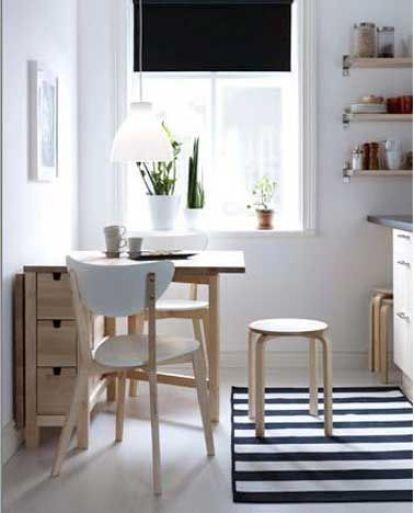 espace repas dans petite cuisine style scandinave