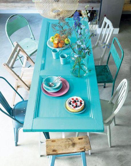 salle à manger table et chaises de récupération diy