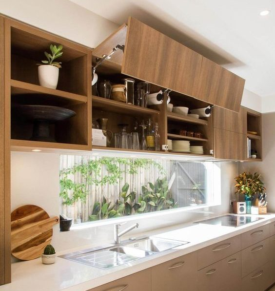 meuble haut de cuisine ouverture relevable porte pliante