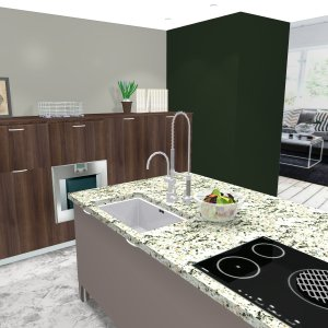 cuisine sur un îlot projet 3d