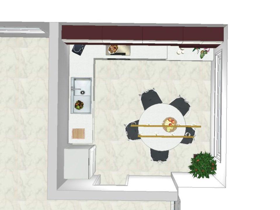 cuisine blanche contemporaine projet 3d vue dessus