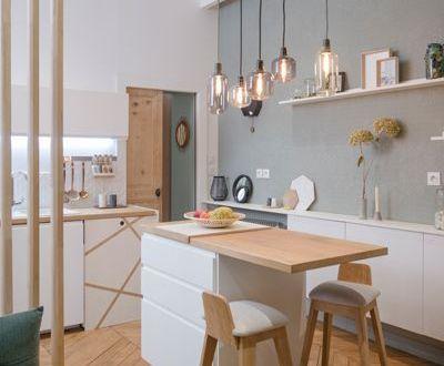 cuisine d'inspiration scandinave blanc et bois
