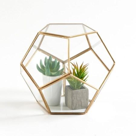 terrarium verre et laiton à facette la Redoute