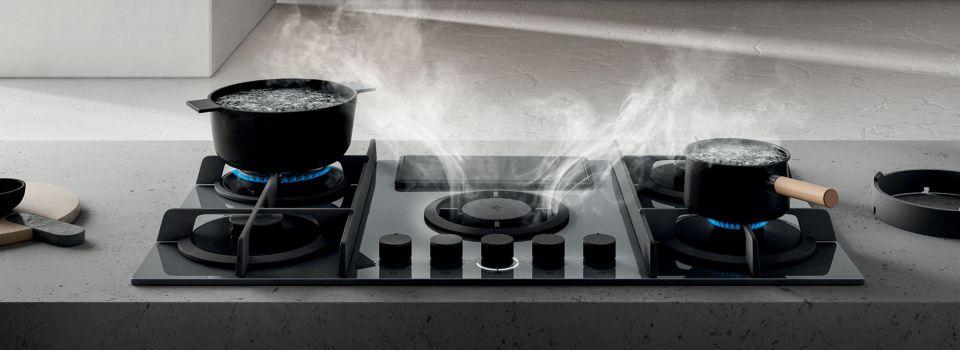 hotte intégrée dans la plaque de cuisson