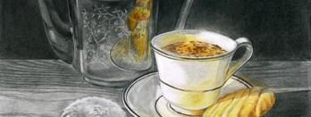 dessin tasse café gâteaux