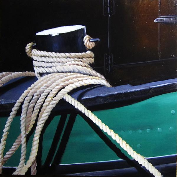 peinture sur bois 20 X 20 cm, zoom sur la batellerie