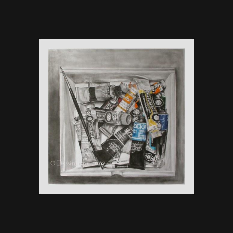 dessin d'une boite et de tube de peinture au graphite et couleur