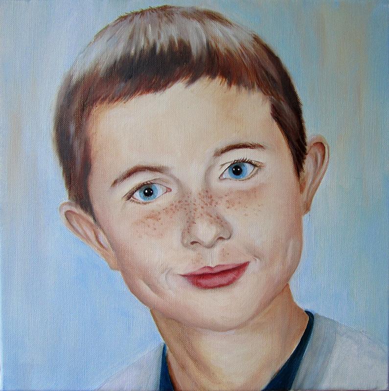 portrait d'enfant à l'huile