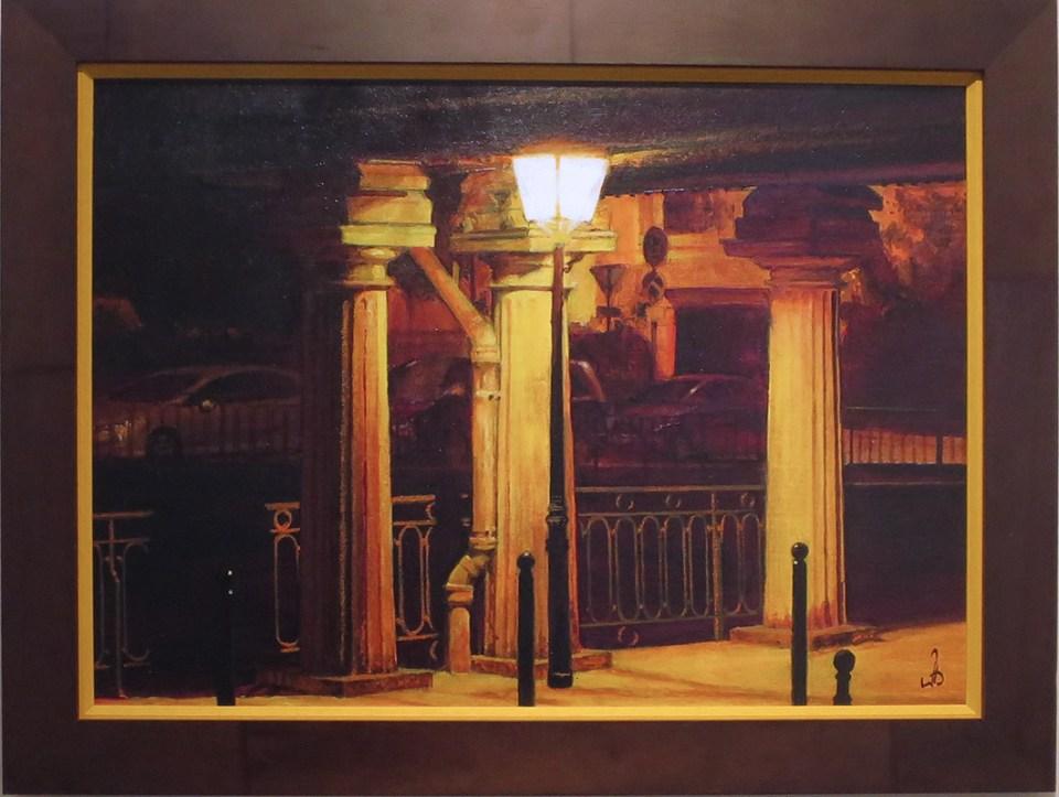 peinture, scène de nuit, exposition