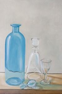 detail de peinture, carafes et verre