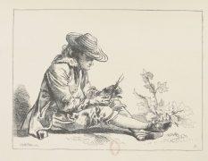 Dessin d'étude de Watteau gravé par Boucher