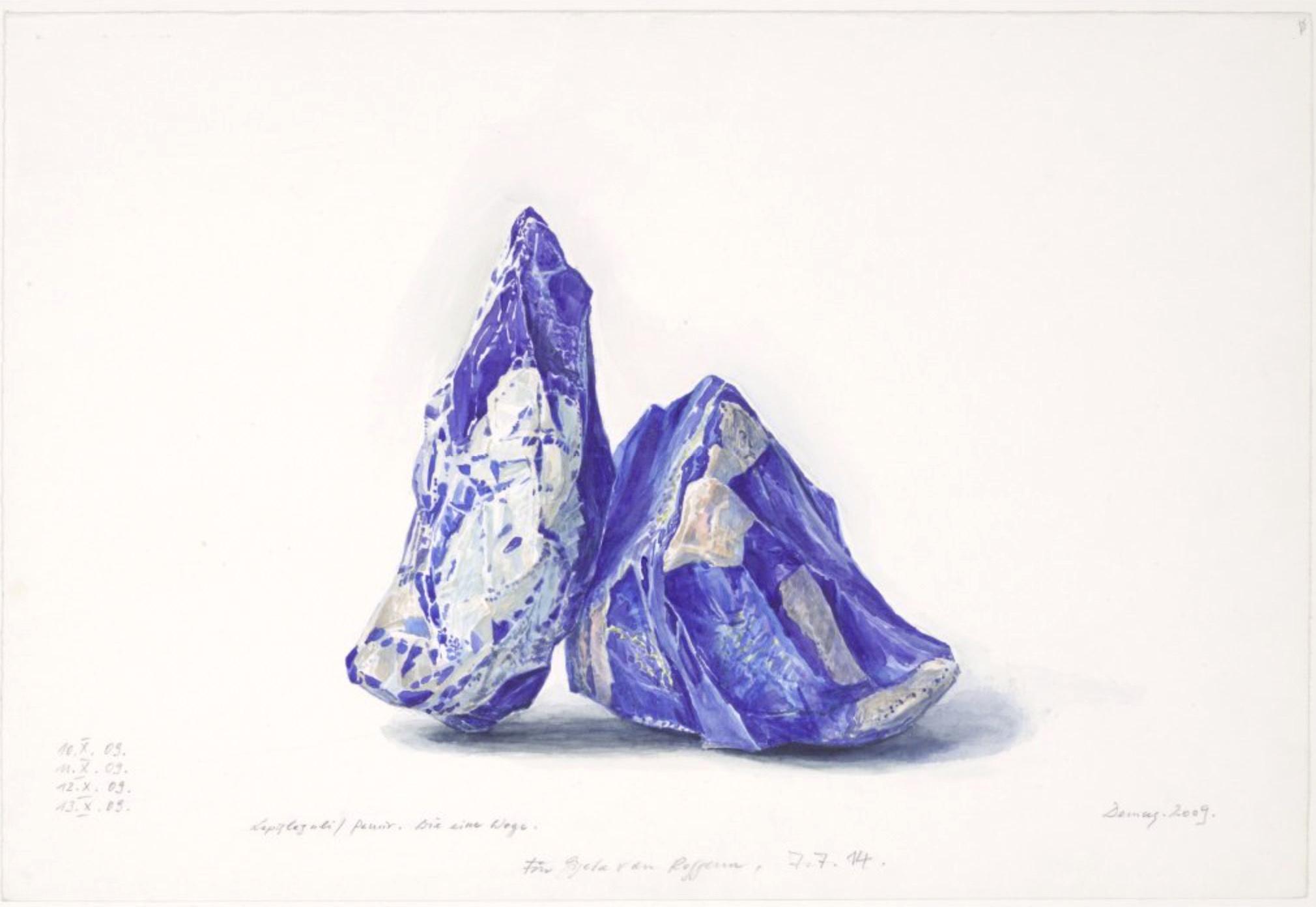 morceau de pierre bleue veinée peint à l'aquarelle