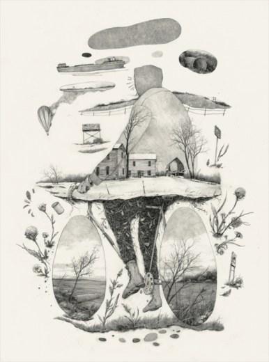 dessin d'un paysage apparait dans la silhouette d'un homme en vélo,