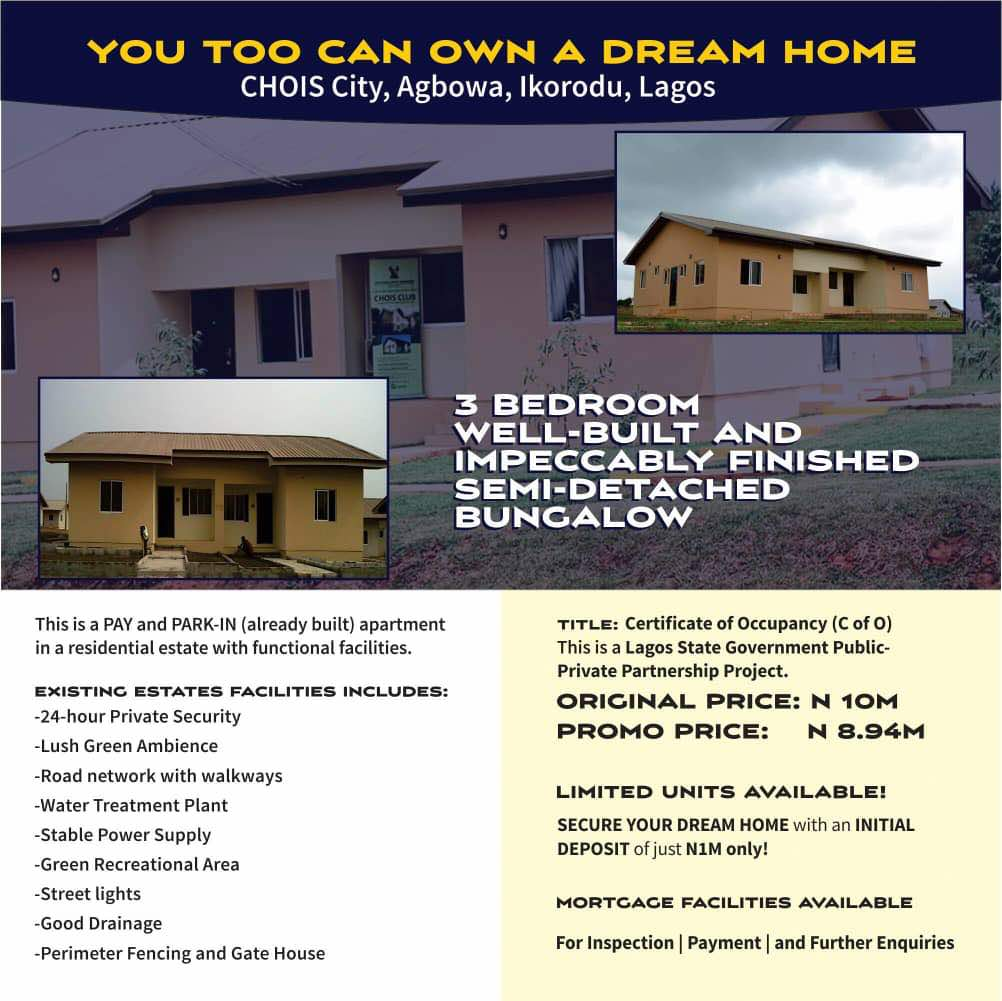 CHOIS City House for Sale in Agbowa