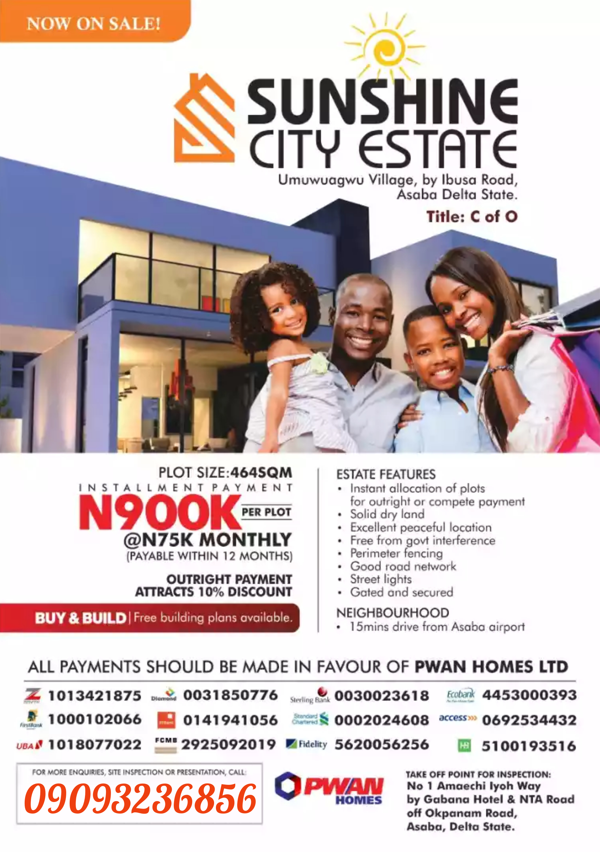 Buy plots of land in SUNSHINE CITY ESTATE ASABA DELTA STATE